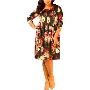 NWT 3XL Petite NY Collection Womens Floral Dress